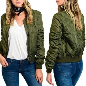 NWT Quilted bomber puff jacket - army green